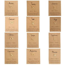 Зодиакальные чокеры онлайн-12 Зодиак Ожерелье С Картой Созвездие Знак Зодиака Позолоченный Лев / Овен / Дева Кулон Цепь Колье Ожерелье Для Женщин