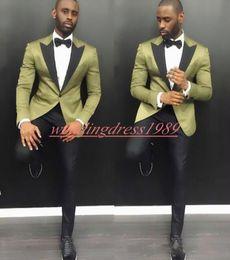Um terno de botão para homens on-line-Negócios 2019 Homens Ternos Formais Do Noivo Smoking Melhor Homem Um Botão Noivo Casamento barato Smoking Ternos Ternos Groomsmen (Jacket + Calças)