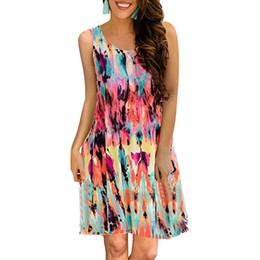 8875ec445f8 Women Sleeveless Floral Printed Swing Dress Summer Casual Round Neck  Pockets Knee Length Ladies Elegant Tank Sundress Vestido  395316 discount  ladies floral ...