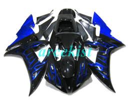2019 camelos plásticos New ABS Compression Mold motocicleta Carenagens Fit For Yamaha YZF-1000-R1 2002-2003 02 03 Fairing Carroçaria definir chama azul personalizado