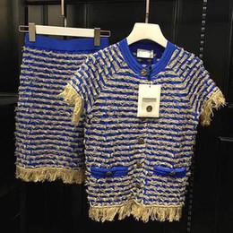 2019 costumes de jupe d'or bleu et or femmes costume en tricot deux pièces jupe ensemble costumes de jupe d'or pas cher