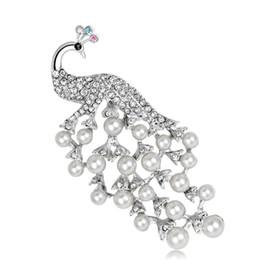 2019 monili della perla del pavone 2019 New Pearl Peacock Brooch Vintage Wedding Crystal Rhinestone Jewelry Animali per le donne Lady Gift sconti monili della perla del pavone