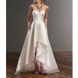 robe à thé audrey Promotion 2019 simples robes de mariage de plage de satin ivoire sexy chérie salut-lo robes de mariée personnalisé étage longueur robes de mariée pays
