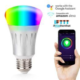 Smart WIFI LED 7W Lampadina a controllo vocale Funziona con Alexa e Google Lampada di illuminazione domestica RGB per telecomando per interni domestici E27 da scarpe da imballaggio fornitori