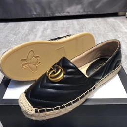 Pattini di tela di canapa più online-Espadrillas di marca di alta qualità in vera pelle Suole spesse scarpe di tela piattaforma delle donne scarpe di moda scarpe più Size34-40