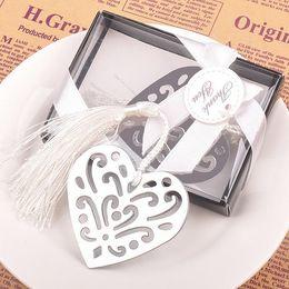 Argentina Silver Metal Hollow Heart Bookmark para favores de la boda y la ducha del bebé regalo caja de regalo embalaje DHL envío gratis Suministro