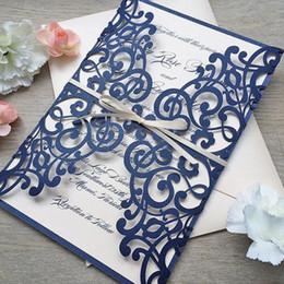 Cartões elegantes para o casamento on-line-Cartão de Convite de Casamento Elegante Com Envelop Azul Marinho Corte A Laser Convites de Casamento 50 pçs / lote Y19061704