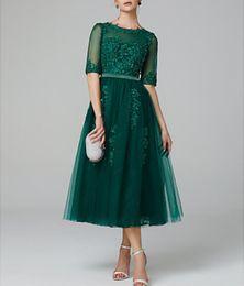 Dark Green Jewel A-Linie Trägerlos Teelang Tüll Illusion Cocktailkleid mit halben Ärmeln und Applikationen und Perlenstickerei von Fabrikanten