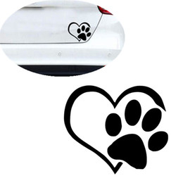 vinyl-auto-aufkleber druck Rabatt Tapete Wandaufkleber Haustier Pfotenabdruck Mit Herz Hund Katze Vinyl Aufkleber Autofenster Auto wandaufkleber dekor für zuhause S300108