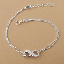 925 silver chains gift box Promo Codes - Cubic zirconia Infinite Love Charm Bracelets for Women Authentic Solid 925 Sterling Silver Box chain Bracelets Minimalist Jewelry