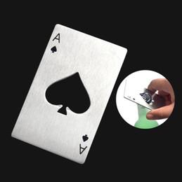 bottiglie di soda d'alluminio Sconti New Stylish Black Beer Bottle Opener Poker Carta da gioco Asso di picche Bar Tool Soda Cap Opener Regalo Utensili da cucina Utensili LX5804