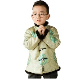 Giallo tradizionale cinese Tang Costume Baby Boys Cappotti Camicette per bambini trapuntati bambini Outfit Capispalla Top China Dress Festival da