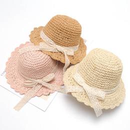 89e7e292a79ea 2019 new Summer Kids Hats Girls Straw Hat lace bowknot kids Bucket Hat  beach Girls Caps cute Children Sun Hat Kids Cap A3773