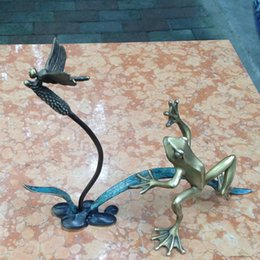 frog carvings Coupons - Bronze decoration frog play dragonfly crafts soft decoration birthday creative gifts study club feng shui decoration