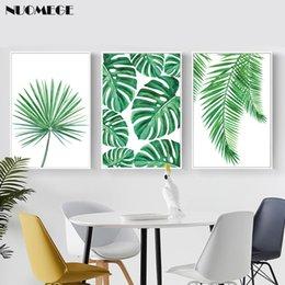 pintando la casa del lago Rebajas Hoja tropical lienzo palma pintura planta verde fresca Monstera nórdico minimalista del cartel verde Arte cuadro de la pared para la decoración casera