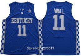 fa1245623be Mens Free Shipping College 11 John Wall Jersey Men Breathable Kentucky  Wildcats Wall Basketball Jerseys Color Blue White Ncaa