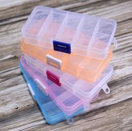 2019 recipientes de armazenamento de compartimento de plástico transparente Nova Embalagem Materiais de Transporte Ajustável 10 Compartimento De Plástico Transparente Caixa De Armazenamento para Jóias Brinco Ferramenta Recipiente recipientes de armazenamento de compartimento de plástico transparente barato