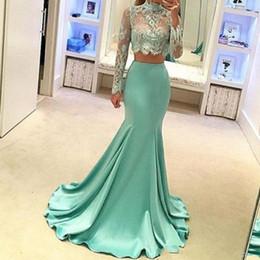 Robes de bal 2019 élégant menthe vert sexy pure dentelle col haut robes de soirée sirène appliques deux pièces plus la taille robes de demoiselle d'honneur ? partir de fabricateur
