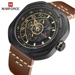 mens military army watch Promo Codes - NAVIFORCE Fashion Mens Watches Top Brand Luxury Date Hours Quartz Clock Men Leather Army Military Waterproof Sports Wrist Watch