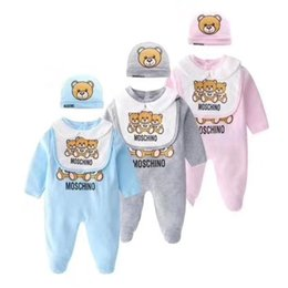 2019 animal raposa cinza Cartoon Bebés Meninos Meninas macacão macacões Marca Roupa Sleeved longos Onesies Romper + chapéu + Bib 3pcs Conjuntos infantil ternos recém-nascidos Outfits