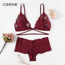 941c34c62e wholesale Burgundy Floral Lace Sexy Lingerie Set 2019 New Fashion Women  Wireless Transparent Underwear Bra Set Female Intimates
