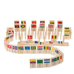 Bandiere puzzle online-Building Block 100pcs Legno Bandiera nazionale Bambini Puzzle Domino Gioco Bandiere Paesi del mondo Giocattoli educativi Regali