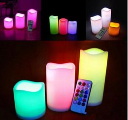 "Canada 3pc / lot LED bougies sans flamme 4 ""5"" 6 ""Pilier Couleur Changeante À Distance Glow Mariage Maison Bar Table Décor LED Bougie Offre"