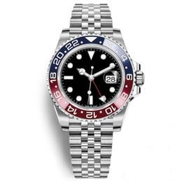 Наручные часы магазин онлайн-Luxury Master Керамическая рамка Безель Мужские часы Glide Lock Застежка-ремешок Автоматический синий черный Gmt II Часы Спортивные часы Crown Наручные часы Orologio Rel