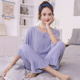 Nachtchen baumwolle online-Cotton Pyjamas Female Shortsleeved Hosen-Sommer-koreanische Nachtwäsche Frische Students netter beiläufiger dünner Abschnitt Cotton Nighties