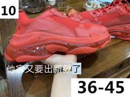 botas de couro de cristal Desconto Vermelho Triplo S Cristal Inferior Sapatos Casuais Botas Triplo S Sneaker Das Mulheres Dos Homens de Couro Sapatos Casuais Low Top Lace-Up Sapatos Casuais À Venda