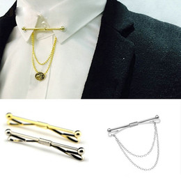 Camisas pin pin on-line-Men Stylish Shirt Tie Collar Clip Bar Pin Clip Chain Tie Brooch Necktie Silver Plain Metal French Tie Clip Jewelry Christmas Gift