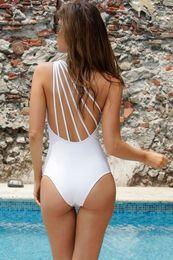 Argentina 2019 New One Piece SwimSuit Traje de playa Blanco Sexy Wome Sólido Monokini Beach Bikini Traje de baño brasileño Negro Un hombro Trikini cheap trikini swimwear Suministro