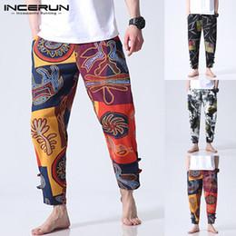 Botones de pantalones holgados online-Boho Pantalón de algodón floral para hombre Pantalones anchos y ocasionales Pantalones sueltos Gimnasio Baggy Button Botines largos Estilo étnico # 387530