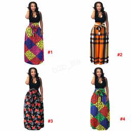 Argentina Vestido de mujer africana Boho Dashiki Falda larga plisada larga Falda de busto de impresión Vestido de fiesta Falda a cuadros maxi talla grande 3 piezas LJJA2888 Suministro