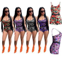 2019 combinaisons multicolores Mode Ethika Marque Multicolore Camouflage Femmes Jumpsuit Designer Spaghetti Strap Bas Retour Gilet Shorts Romper Été Jarretelles Pantalon C71503 combinaisons multicolores pas cher