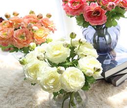 Buquês de flores de seda em massa on-line-A granel Por Atacado Frete Grátis Blooming Real Toque 5 cor Seda Artificial Rose Gold Da Dama De Honra Flor Bouquet Para O Casamento E Decoração Para Casa