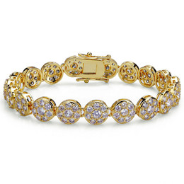 Bracelet hip hop style américain et européen tendance serti de pétales de prunes zircon et bracelet en or rond ? partir de fabricateur