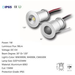 Mini levou lâmpada de luz de teto on-line-Mini IP65 À Prova D 'Água IP65 Downlight DC12V 15mm 25mm Corte Sob o Gabinete Casa Luz Telhado Lâmpada de Teto Spot 1 W Lâmpadas de Teto