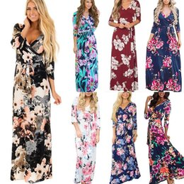 a8f623d7b003 Long Sleeve Floral Dress 16 Styles Women Summer Boho Maxi Dresses V Neck  Flower Printed Bohemia Party Beach Dresses OOA6527 discount beige bohemian  floral ...