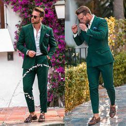 2019 smoking vert décontracté Casual Hommes Vert Costumes Pour Mariage Homme Blazers Custom Made Tuxedos Marié Slim Fit Veste De Soirée Poitrine (Veste + Pantalon) promotion smoking vert décontracté
