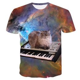 2019 raumhemden 2019 neue design sommer tier t shirts galaxy raum katze 3d t-shirt lustige katze druck männer frauen oansatz t-shirt rabatt raumhemden