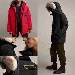 Casaco de pele grande on-line-2020 Marca Mens casacos de inverno designer de Canada Parkas Casacos com capuz Manteau Magro grande de pele real Down Jacket Brasão Hiver Parka doudoune homme