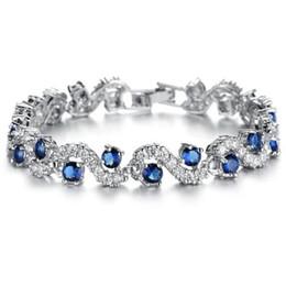 Bracelets en platine en Ligne-BIJOUX Mode EU Style Platine Plaqué Bleu Cristal Pierre Bracelets Bracelets De Luxe Romantique Bijoux De Mariage Gif