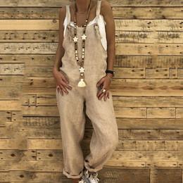 Macacão casual de algodão feminino on-line-Mulheres Algodão De Linho Macacão Macacão Sem Mangas Do Vintage Com Tiras Soltas Macacões Calças Bib Casuais Calças Femininas Playsuit Romper