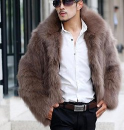 Pelz-jacke mens online-Mens Pelzfox Jacken-Mantel-Winter warme starke Revers Hals Male Volumenkörper Plus Size Oberbekleidung Mäntel