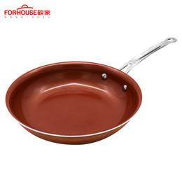 Sartenes recubiertas online-Sartén de cobre de 10 pulgadas que no es estocada Recubrimiento de cerámica Ollas de aluminio Para hornear Pasteles para pasteles Para cocina de inducción Sartén Wok