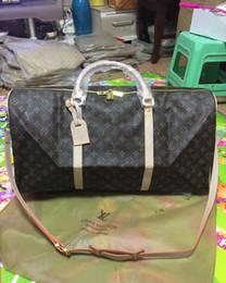 etiquetas de moda Rebajas Diseñador de la marca bolsos de equipaje bolsa de deporte de gran capacidad, nueva moda hombre mujer bolsa de viaje bolsa de lona 62 CM, con etiqueta de bloqueo