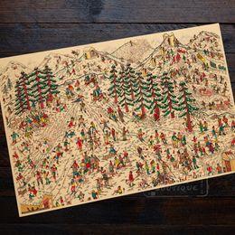 carteles de viajes de época Rebajas Dónde está Waldo Ski Slopes Sports Print Landscape Trip Travel Retro Vintage Poster Canvas DIY Wall Art Home Bar Posters Decoración
