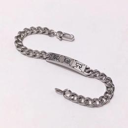 Top marque 316L en acier inoxydable punk bracelet avec fantôme design pour homme bracelet en 18.5cm bijoux de mariage cadeau + boîte brune baisse ? partir de fabricateur