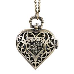 Reloj de cadena del corazón online-PRODUCTOS REAL Nuevo reloj de bolsillo en forma de corazón único de cuarzo de las mujeres de la cubierta del reloj de cuarzo unisex suéter cadena colgante reloj FOB